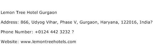 Lemon Tree Hotel Gurgaon Address Contact Number