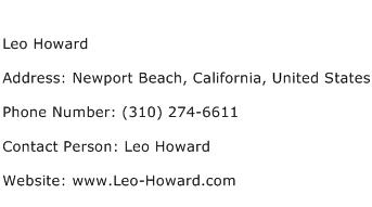Leo Howard Address Contact Number