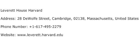 Leverett House Harvard Address Contact Number