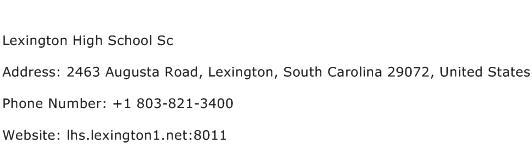 Lexington High School Sc Address Contact Number