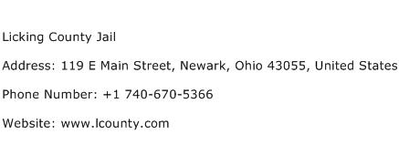Licking County Jail Address Contact Number
