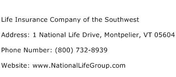 Life Insurance Company of the Southwest Address Contact Number