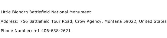 Little Bighorn Battlefield National Monument Address Contact Number