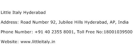 Little Italy Hyderabad Address Contact Number