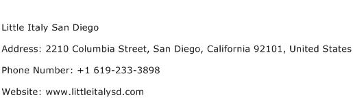 Little Italy San Diego Address Contact Number