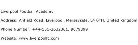 Liverpool Football Academy Address Contact Number