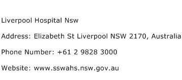 Liverpool Hospital Nsw Address Contact Number