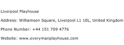 Liverpool Playhouse Address Contact Number