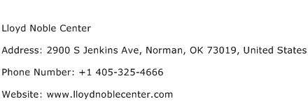 Lloyd Noble Center Address Contact Number