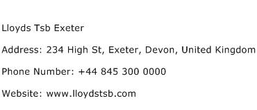 Lloyds Tsb Exeter Address Contact Number