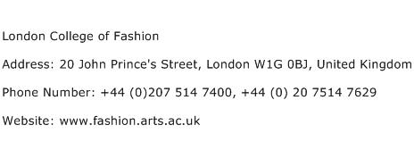 London College of Fashion Address Contact Number