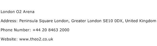 London O2 Arena Address Contact Number