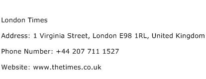 London Times Address Contact Number