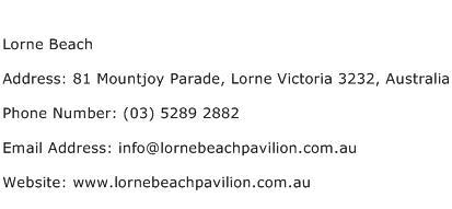 Lorne Beach Address Contact Number
