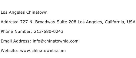 Los Angeles Chinatown Address Contact Number