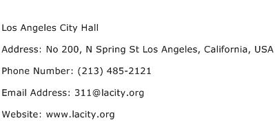 Los Angeles City Hall Address Contact Number