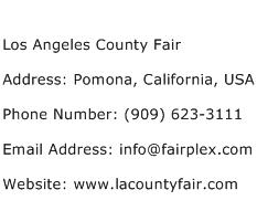 Los Angeles County Fair Address Contact Number