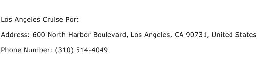 Los Angeles Cruise Port Address Contact Number