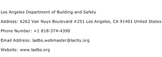 Los Angeles Department of Building and Safety Address Contact Number