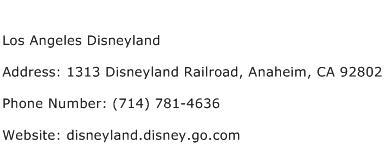 Los Angeles Disneyland Address Contact Number