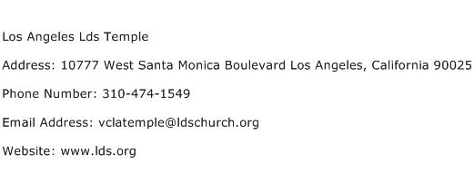 Los Angeles Lds Temple Address Contact Number