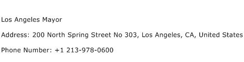 Los Angeles Mayor Address Contact Number