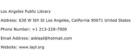 Los Angeles Public Library Address Contact Number
