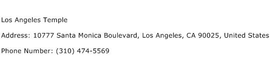 Los Angeles Temple Address Contact Number