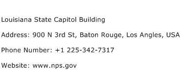 Louisiana State Capitol Building Address Contact Number