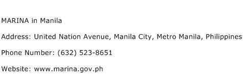 MARINA in Manila Address Contact Number