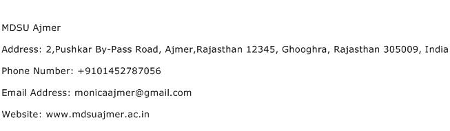 MDSU Ajmer Address Contact Number