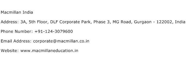 Macmillan India Address Contact Number