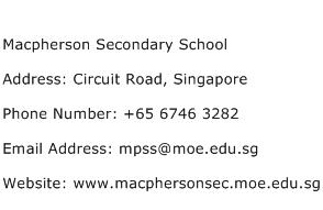 Macpherson Secondary School Address Contact Number