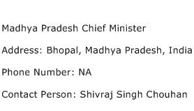Madhya Pradesh Chief Minister Address Contact Number