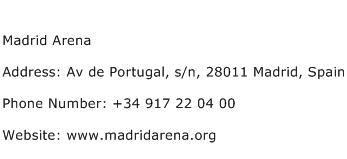 Madrid Arena Address Contact Number