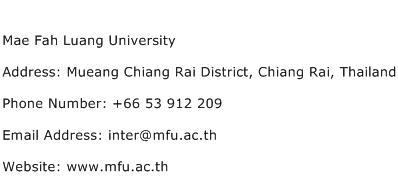 Mae Fah Luang University Address Contact Number