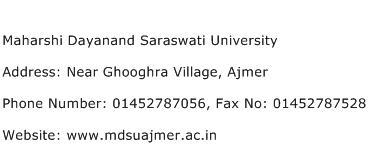 Maharshi Dayanand Saraswati University Address Contact Number