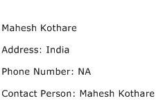 Mahesh Kothare Address Contact Number