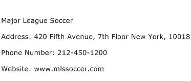 Major League Soccer Address Contact Number