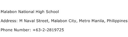 Malabon National High School Address Contact Number