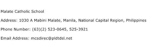 Malate Catholic School Address Contact Number