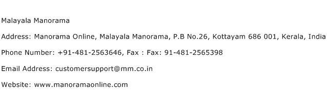 Malayala Manorama Address Contact Number