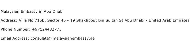 Malaysian Embassy in Abu Dhabi Address Contact Number