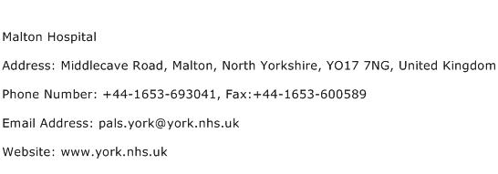 Malton Hospital Address Contact Number