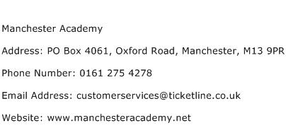 Manchester Academy Address Contact Number