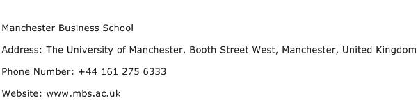 Manchester Business School Address Contact Number