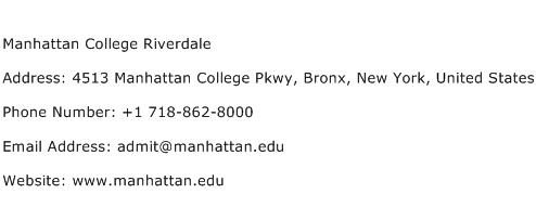 Manhattan College Riverdale Address Contact Number