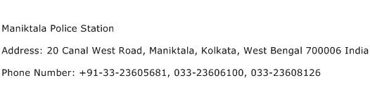 Maniktala Police Station Address Contact Number