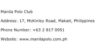 Manila Polo Club Address Contact Number