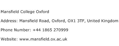 Mansfield College Oxford Address Contact Number